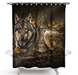 JOVEGSRVA Wolf - Cortinas de ducha impermeables para baño (12 ganchos, 180 x 200 cm)