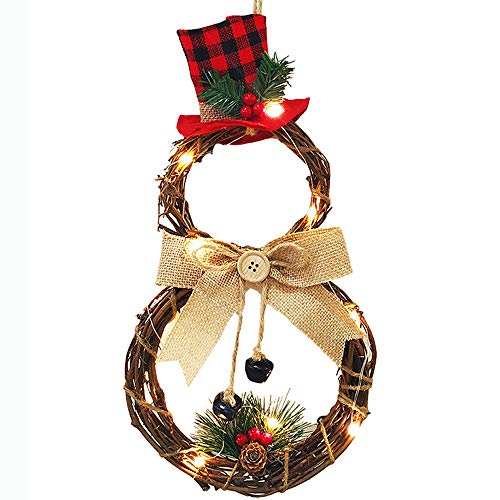 Bowanadacles 2020 Merry Christmas Wreath Front DoorLED Garland Hanging Decoration for Party Decor Wall Winter Decor (Round, 4020cm)