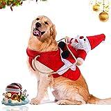 WELLXUNK® Traje de Perro Santa, Disfraz De Navidad para Mascotas, Traje de Perro Santa, Ropa para Perros Cosplay Ajustables Disfraz Gato Adecuado para Navidad,Fiesta,Cumpleaños (S)