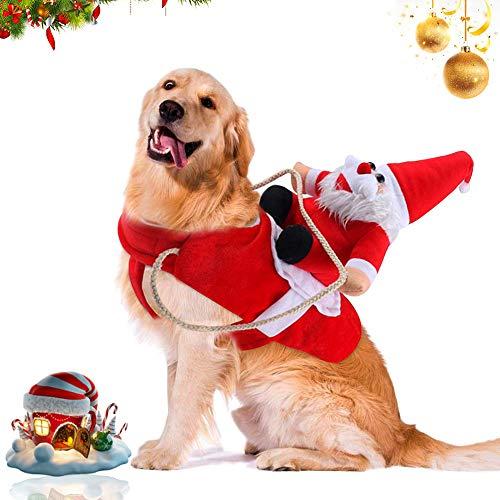 WELLXUNK® Traje de Perro Santa, Disfraz De Navidad para Mascotas, Traje de Perro Santa, Ropa para Perros Cosplay Ajustables Disfraz Gato Adecuado para Navidad,Fiesta,Cumpleaños (L)