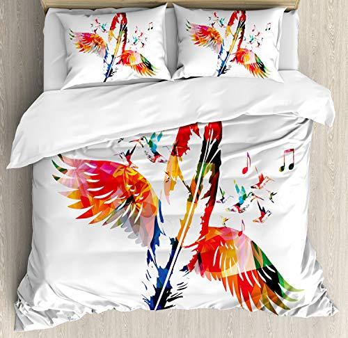 ABAKUHAUS veren Dekbedovertrekset, Feather met Vleugels Vogels, decoratieve 3-delige bedset met twee sierslopen, Veelkleurig