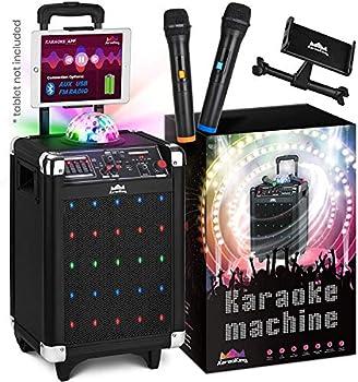 KaraoKing Karaoke Machine for Kids & Adults Wireless Microphone Speaker with Disco Ball 2 Wireless Bluetooth Microphones & Phone/Tablet Holder - Karaoke Bluetooth Toys for Kids  G100