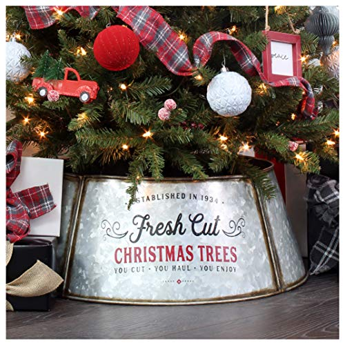 AuldHome Galvanized Metal Christmas Tree Collar (23-Inch Diameter Base); Small Size for Short Trees and Pencil Trees