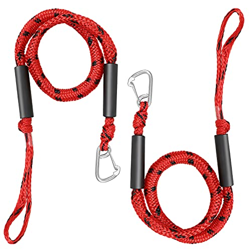 Selftek 2Pack Bungee Dock Line 4ft Boat Tow Rope Stretchable 4-5.5ft Absorbs Shock to Cleats Docks Pylons Anchors Reduces Pull for Your Boat Marine Rope for PWC,Jet Ski,Pontoon,Kayak,Canoe,Watercraft