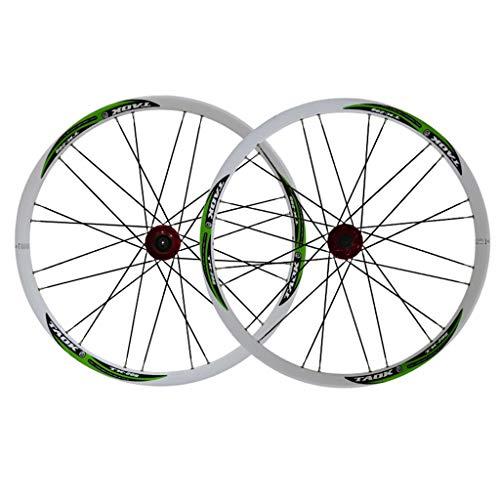 LSRRYD Ciclismo Ruedas Rueda 26' Juego Ruedas Bicicleta MTB Llanta Aleación Doble Pared Freno Disco 7-11 Velocidad Neumáticos 1.5-2.1' Buje De Rodamientos Sellados Liberación Rápida 28H 6 Colores