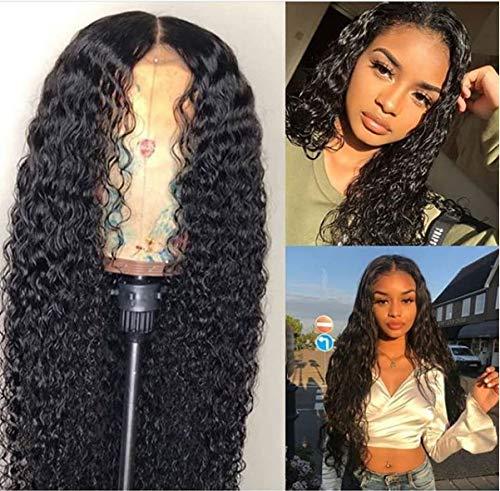 Perruque Femme Naturelle Synthetic Brésilien 13×4 Espace de Séparation Très Long 150% Densité Pre Plucked Délié Naturel Deep Curly Lace Front Wigs for Black Women,22inch