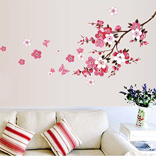 ufengke Flores de Primavera de Cerezo y Mariposas Pegatinas de Pared Rosa Decorativo Extraíble DIY Vinilo Pared Calcomanías Sala de Estar, Dormitorio