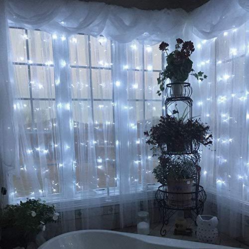 300 Led 3Mx3M Esterno Tenda Luminosa Natale IP44 Impermeabile Luci di Natale 8 Modalità Tenda Luminosa Esterno Bianco Tenda di Luci Esterno Led Luci Stringa per Natale, Giardino e Matrimonio