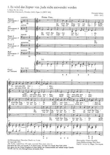 Schütz: Es wird das Zepter von Juda (SWV 369 (op. 11 no. 1)). Partitur (20 St.)