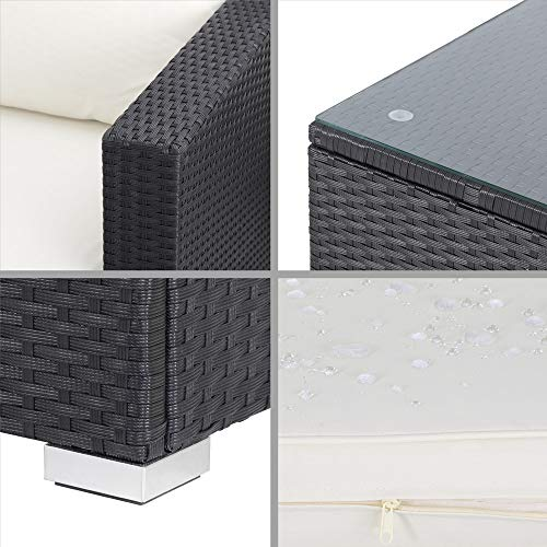 Casaria Poly Rattan XL Lounge Set inkl. 7cm Auflagen und 15cm dicken Kissen Tisch mit Glasplatte frei stellbare Elemente Gartenmöbel Sitzgruppe Schwarz Creme - 6