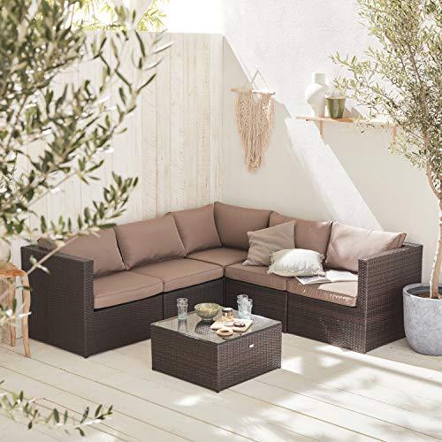 Muebles de jardín, Conjunto sofá de Exterior, Marrón marrón, 5 plazas - Siena