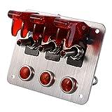WSFANG Interruptor de Coche 1 Set DC 12V 20A Racing Coche Start Start Pulsador Interruptor de Encendido Kit de Panel para Compatible con Carreras con Cable con Cable Automóviles, Camiones, etc.