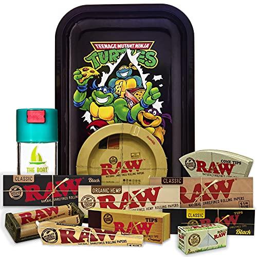 Bandeja para liar Tortugas 27,5cm x 17,5cm + Cenicero RAW + Bote Antiolor THE BOAT + Maquina de liar 79mm + Papel Raw 1 1/4 Organic, Black y Classic + Tips Maestro, Orgánico y Classic.
