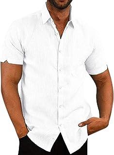 LOXBEE Camisas de algodón y lino de manga corta con botones para el verano