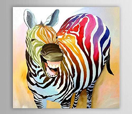 N / A Rahmenlose Malerei Ölgemälde Moderne abstrakte Dekoration lachend Zebra Tier Ölgemälde Leinwand Kunst Einstellung Wandbild 30X30cm