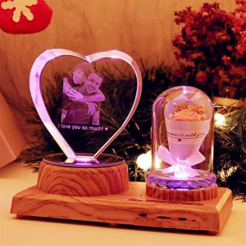 Luz de noche de corazón personalizada Lámpara de cristal 3D Imagen de foto Luz LED grabada de 7 colores con Bluetooth Base de madera de rosa Regalo personalizado para mujeres Decoración de Navidad