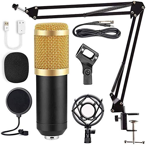 Condenser Microphone Bundle, Professional Cardioid Studio Condenser Mic Include Adjustable Suspension Scissor Arm Stand, Shock Mount and Pop Filter, Studio Recording & Broadcasting