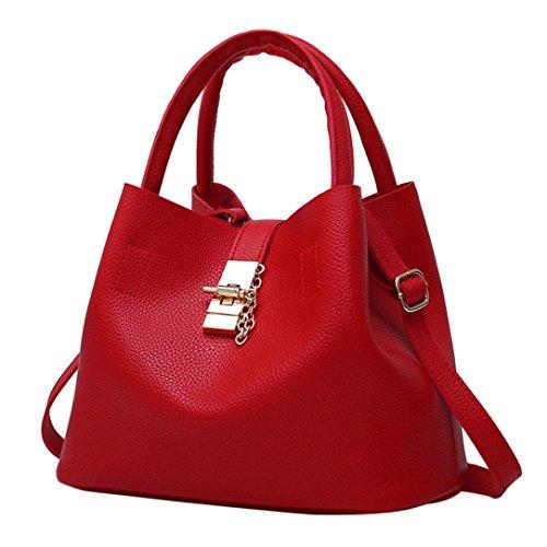 TUDUZ Handtaschen Damen Mode Taschen Leder Schultertaschen Umhängetaschen Handtaschen für Frauen (Rot)