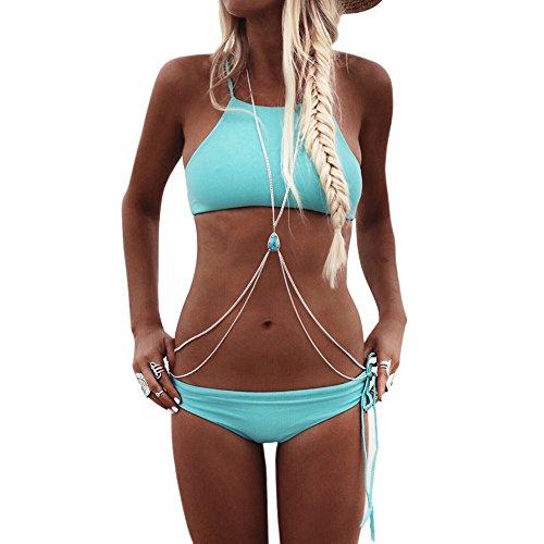 Amorar Körperkette Schmuck Frauen Sexy Bikini Kreuz Harness Halskette Taille Bauch Körper Türkis Kette mit Perlen Belly Bauchkette Body Chain für Beach, Bar und Nachtclub