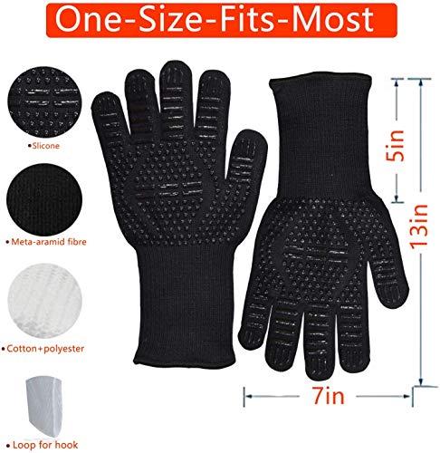 Senders Grillhandschuhe, Ofenhandschuhe Hitzebeständige bis zu 800 ° C Grill Handschuhe Universalgröße Kochhandschuhe Backhandschuhe rutschfeste mit Silikon für BBQ/Kochen/Backen/Schweißen - 2