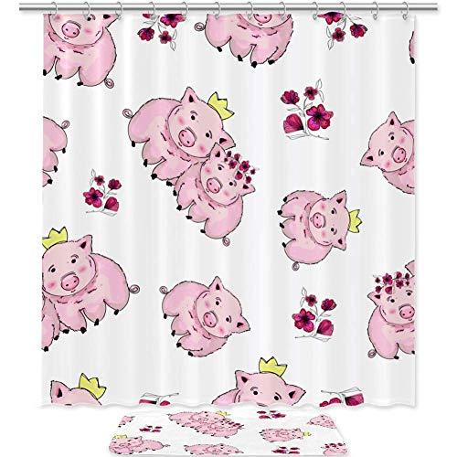 Bennigiry Duschvorhang-Set, süße Schweine, Blumen, Badezimmer-Zubehör, 182,9 x 182,9 cm, Polyester-Duschvorhänge & Badematte mit 12 Haken