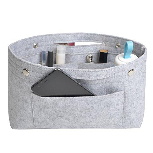 NOTAG Taschenorganizer Handtasche Kosmetik Organizer Tasche Organizer Leichte Große Kapazität Aufbewahrungstasche Accessoires Kosmetiktasche 6 Farben (S, Grau)