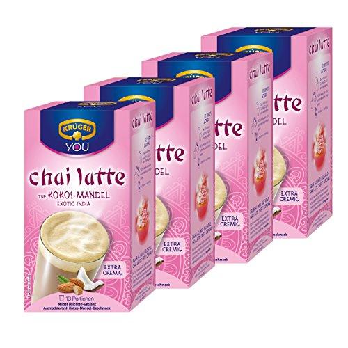 Krüger Chai Latte Exotic India, Kokos-Mandel, mildes Milchtee Getränk, 40 Portionsbeutel
