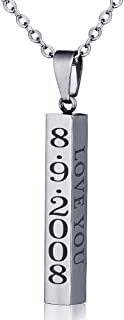 diamondidde Personalized Custom Message Names Pendant Necklace Unisex Stainless Steel Vertical Cuboid Bar Necklace