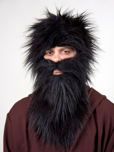 Bart aus schwarzem Plüsch Knecht Ruprecht Krampus
