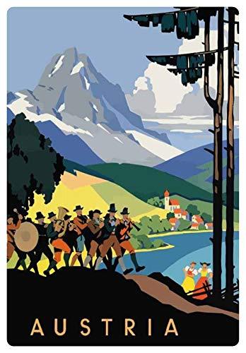 Blechschild 20x30cm gewölbt Austria Urlaub Werbe Plakat Österreich Alpen Panorama Deko Geschenk Schild