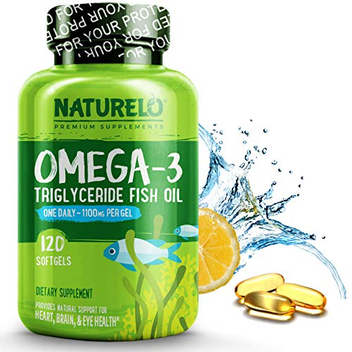 NATURELO Omega-3 Fish Oil Supplement - EPA + DHA - 1100 mg Triglyceride Omega-3 per Gel - One A Day - for Heart, Eye, Brain, Joint Health - No Burps - Lemon Flavor - 120 Softgels | 4 Month Supply