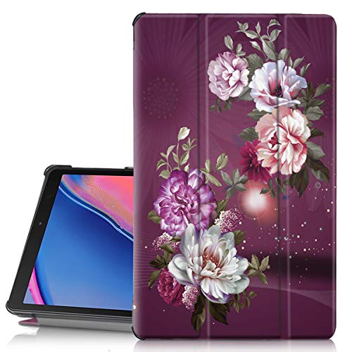 Hocase Galaxy Tab A 8.0 (SM-T290) Case, PU Leather Slim Case with Unique Flower Design, Magnetic Trifold Stand Feature, Hard Back Cover for Samsung Galaxy Tab A 8.0 (2019) - Burgundy Flowers
