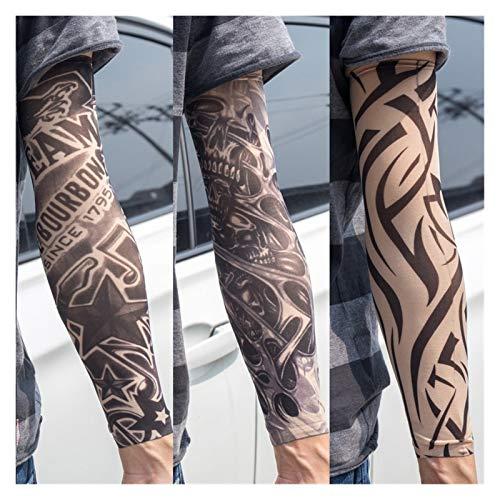 BJKKM Duradero 3 unids/Lote Nuevo Mezclado 100% Nylon elástico Fake Tatuaje Temporal Skull Wolf Totem Dragon diseños Cuerpo Brazo Medias Fresco Hombres para la Fiesta del Festival (Color : X18)