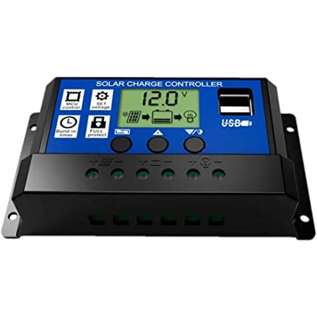 JZK 20A 12V / 24V Panel Solar Inteligente Controlador de Carga con Pantalla LCD y Puerto USB, protección contra sobretensión, regulador de Carga Solar para lámpara batería Panel Solar Iluminación LCD