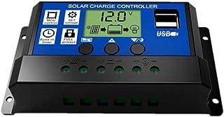 JZK® Intelligent zonnepaneel, laadregelaar, 20 A, 12 V/24 V, met lcd-display en USB-aansluiting, overstroombeveiliging, vo...