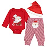 DONWEN Christmas Outfits Baby Boys My 1st Christmas Rompers Bodysuit Santa Claus Pants with Christmas Hat 3-6 Months Red