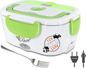 Electric Heating Lunch Box, 110V/12V 2 in 1 Portable Electric Food Warmer Lunch Heater for Car, Home, Office with Removable Stainless Steel Food Container (green)