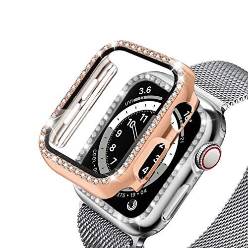 PaceBid 2 Pack Bling Cristal Diamante Funda Compatible con Apple Watch Series 4/5/6/SE 38 mm, Built-in HD Protector de Pantalla PC Parachoque Funda para Niñas Mujeres- Rose Gold & Transparent