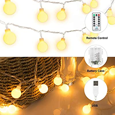 33 FT 100 LED Globe Ball String Lights, Fairy String Lights Plug in with Remote, Decor for Indoor Outdoor Party Wedding Christmas Tree Garden
