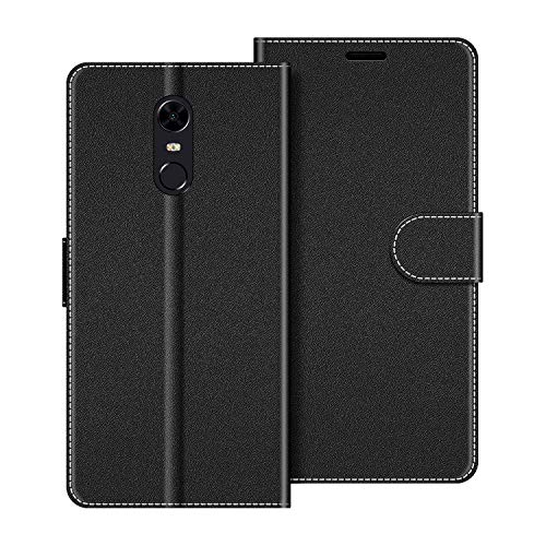COODIO Funda Xiaomi Redmi 5 Plus con Tapa, Funda Movil Xiaomi Redmi 5 Plus, Funda Libro Xiaomi Redmi 5 Plus Carcasa Magnético Funda para Xiaomi Redmi 5 Plus, Negro