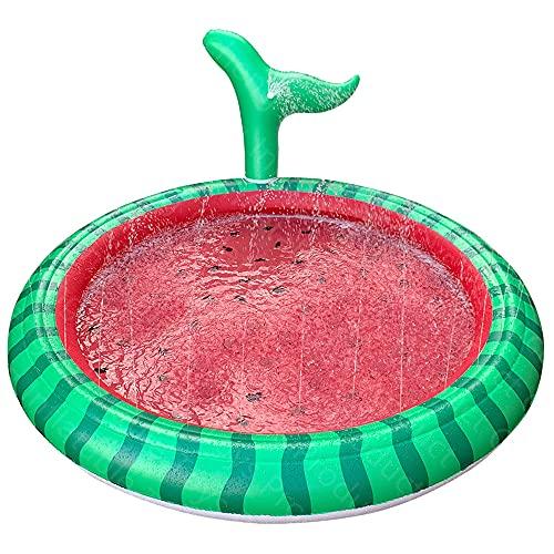 Bilivry Piscina Hinchable,Splash Pad,170CM Juegos de Agua para Niños PVC Splash Play Mat Almohadilla,Entretenimiento para niños Piscina Inflable con Forma de Fruta,Jardín de Verano Juguetes Acuático