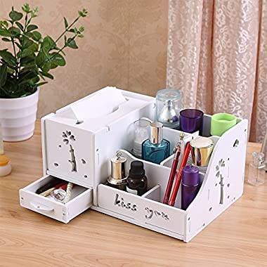 Ufine Makeup Organizer Holder Multi-Function Jewelry & Cosmetic Storage Display Boxes Case for Brush Lipstick Toner in Bathroom Dresser Vanity Countertop,Plastick Wood,White,7 Compartment,DIY