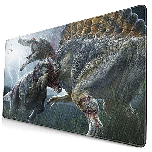 Grande Juego de Azar Alfombrilla de Ratón-75 x 40cm,Peligro Tyrannosaurus Modelo Dinosaurio Scary Hunter Carnívoro Spinos,Alfombrilla de Teclado para el Cojín de Escritorio de la Computadora Portátil