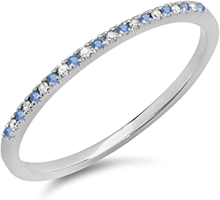 10K White Gold Round Blue Sapphire & White Diamond Ladies Dainty Anniversary Wedding Stackable Ring