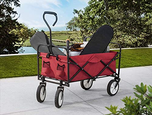 Odthelda Folding Wagon Cart Collapsible Outdoor Utility Wagon Garden Shopping Cart Beach Wagon with All-Terrain Wheels and Brake System, 150 Pound Capacity, Red