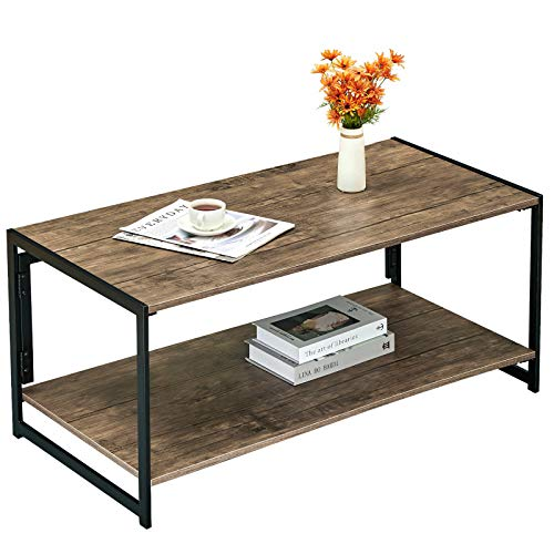 Coavas Modern Coffee Tables for Living Room Folding Industrial 2-Tier Sofa Tables No-Assembly Table with Storage Shelf Rectangle End Table,Rustic Brown(39.3 X 19.6 X 17.7 in)