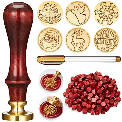 Juego de 208 Piezas Sellos de Cera de Navidad, Incluye 6 Cabezas de Latón con Sello de Cera con Mango de Madera, 200...