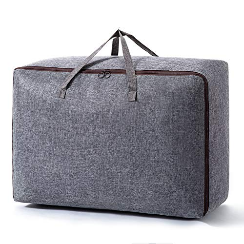 Large Capacity Foldable Storage Bag with Sturdy Zipper and Reinforced Handle Thick Fabric for Comforters - Clothes Organizer Suitable for Bedding, stored Under Bed Storage (XL(28''×20''×12''), Gray)