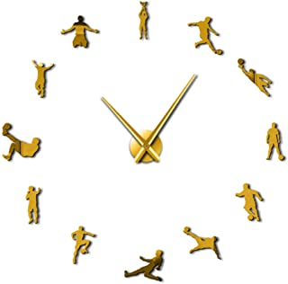 Football Sport Frameless DIY Giant Wall Clock Soccer Game Lover Coach Room Wall Art Decor Modern Big Time Clock Soccer Team Gift
