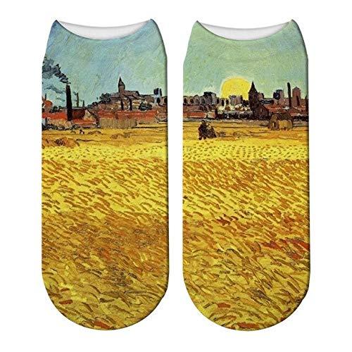 QXCWZ 3 Pares Impresión 3D Pintura Al Óleo Calcetines Van Gogh Mujeres Starry Night Calcetines De Algodón Personalidad Arte Pintura Calcetines 2